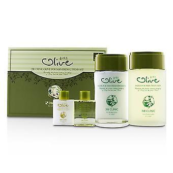3w Clinic Olive For Man Set: 2x Fresh Skin 2x Fresh Emulsion - 4pcs