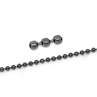 10m x Schwarz Anti trüben Metalllegierung 2,4 mm geschlossen Kugel Kette CH1700
