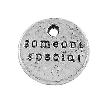 Packet 15 x Antique Silver Tibetan 10mm Someone Special Charm/Pendant ZX09790