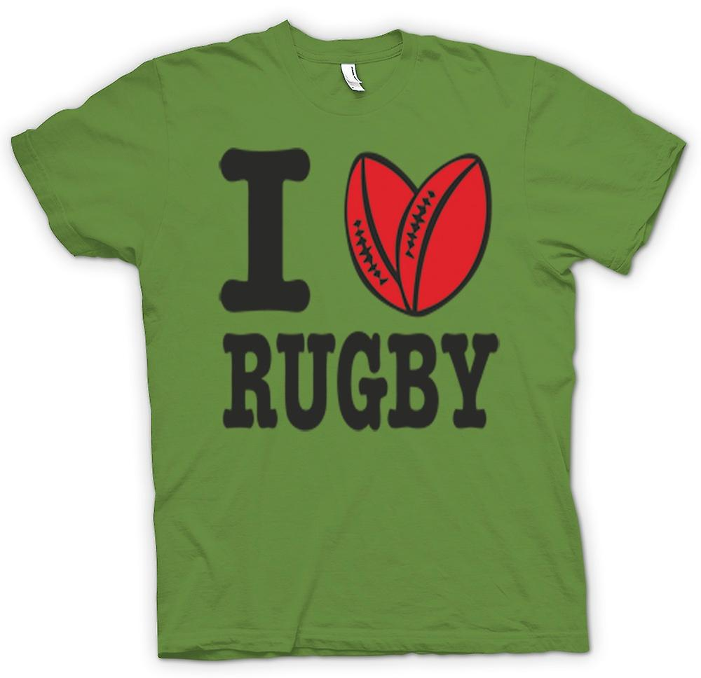 Mens T-shirt - I Love Rugby