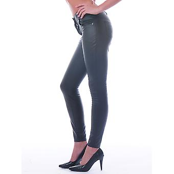 Honour Women's Sexy Trouser Jeans in PVC Black Patch Pockets with Heart Design