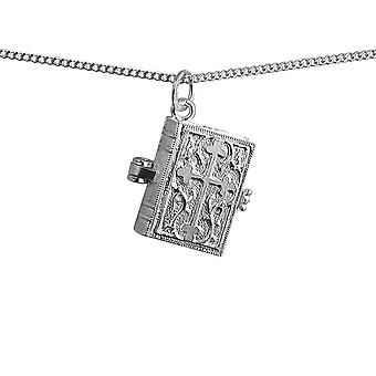 Silver 17x18mm moveable Bible with shrine inside Pendant with a 1.3mm wide curb Chain 24 inches