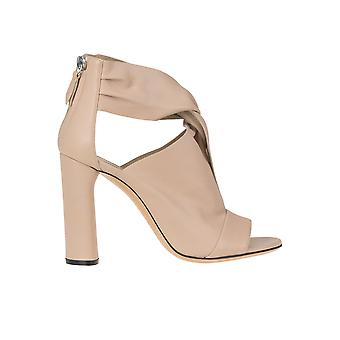 Casadei Nude Leather Ankle Boots