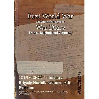 18 divisie 53 Infanterie Brigade Norfolk Regiment 8e bataljon 25 juli 1915 20 februari 1918 eerste Wereldoorlog oorlog dagboek WO9520401 door WO9520401