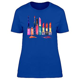 Variety Of Lipsticks Watercolor Tee Women's -Image by Shutterstock