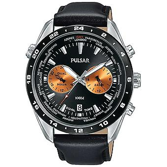 Pulsar Mens Dual Time Black Dial Black Leather Strap PY7015X1 Watch