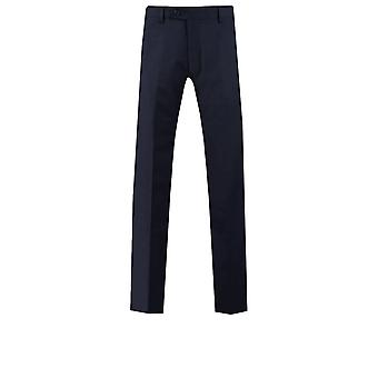 Dobell Mens Navy Suit Trousers Slim Fit Travel/Performance