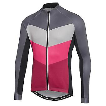 Madison Chevron-Grey-Burgundy Sportive Thermal Long Sleeved Cycling Jersey