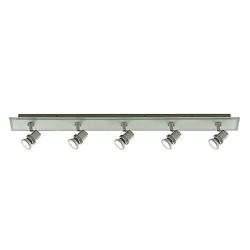 Searchlight 7845-5 Top Hat GU10 Halogen Bar Light With Clear Frosted Square Glass