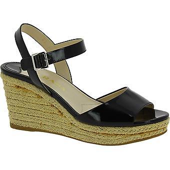 Prada Damenmode Schlingerkeil hackte Sandalen in schwarzem Lackleder