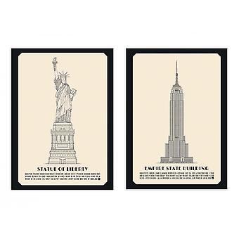 2 Art-Poster 30 x 40 cm - Duo Amerikanische Denkmäler - Lionel Darian