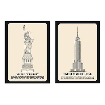 2 art-affischer 30 x 40 cm-Duo amerikanska monument-Lionel Darian