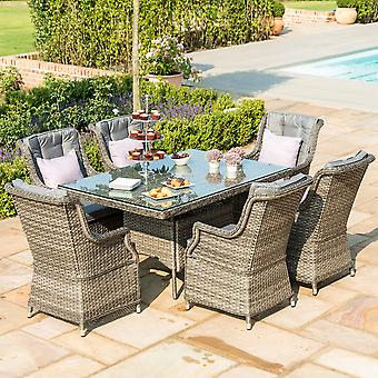 Maze Rattan Victoria 6 Seat Rectangular Grey Dining Set With Highback Armchairs