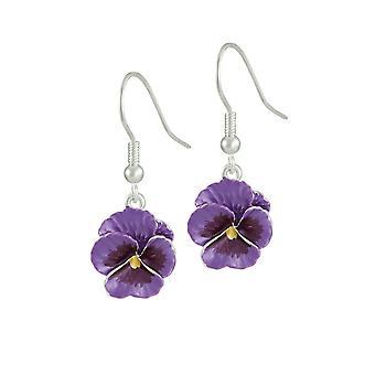 Eternal Collection Pansy Perfection Purple Enamel Silver Tone Flower Drop Pierced Earrings