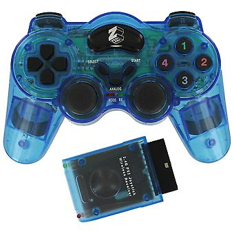 Draadloze RF Double shock Vibration controller voor Sony PlayStation 2 PS2 & PS1-blauw