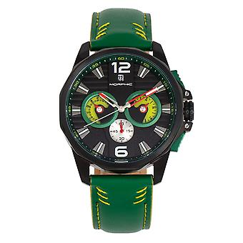Morphic M82 Series Chronograph Leather-Band Watch w/Date - Black/Green