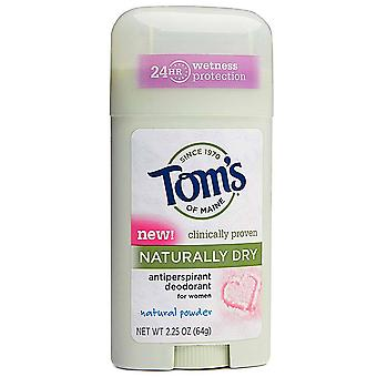 Tom's antiperspirant deodorant stick, natural powder, 2.25 oz