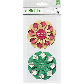 Peppermint Express Delights Adhesive Flowers 2 Pkg Twinklemint Folded Paper 366111