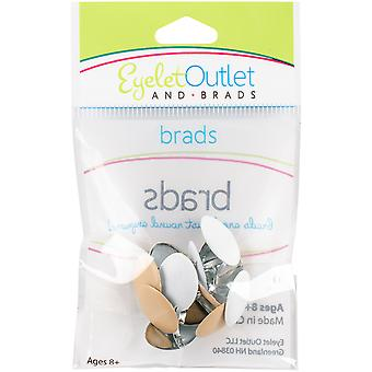 Eyelet Outlet Shape Brads 12/Pkg-Brown/White Eggs QBRD2-18