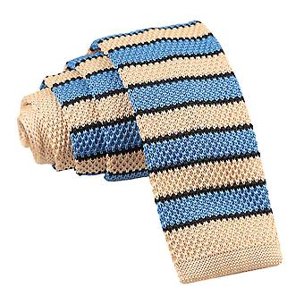 Men's Knitted Cream Light Blue with Black Thin Stripe Tie