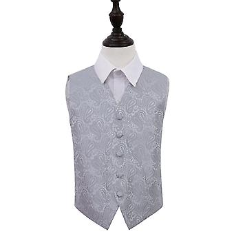 Boy's Silver Paisley Patterned Wedding Waistcoat