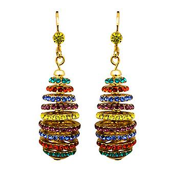 Butler and Wilson Multi Crystal Spiral Rondell Earrings