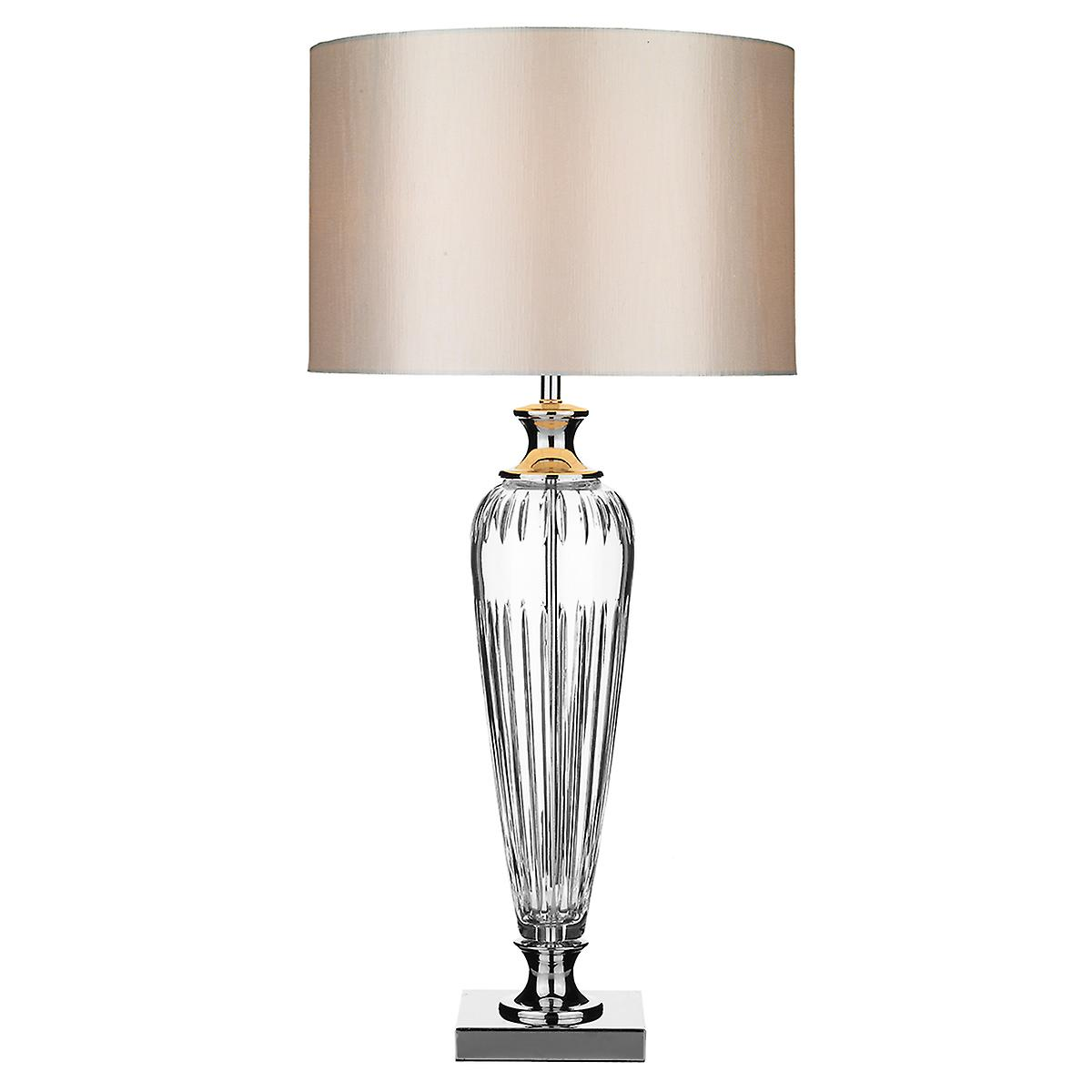 Dar HIN4208 Hinton Contemporary Styled Crystal Table Lamp With Shade