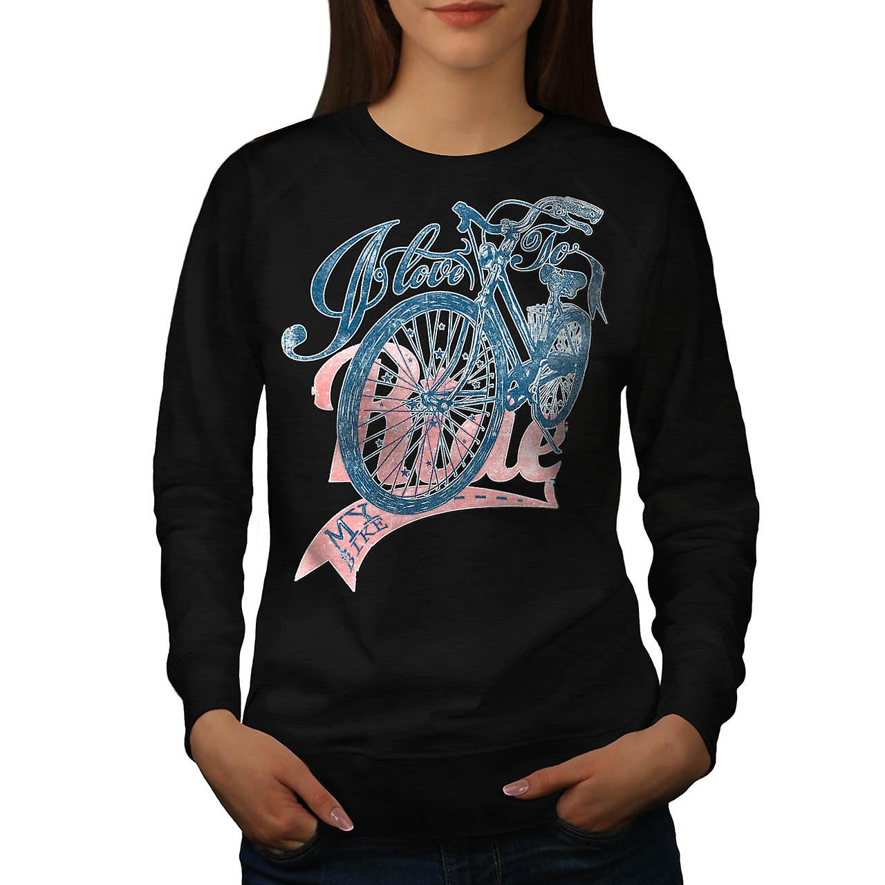 Love To Ride Cycling Bike Pedal Women Black Sweatshirt | Wellcoda