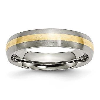 Titan Schlossdrücker 14k Gold-Inlay 5mm gebürstet Band Ring - Ring-Größe: 6 bis 13