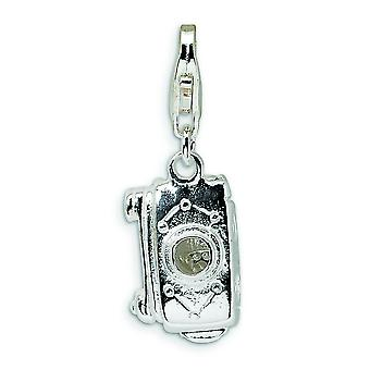Sterling Silver 3-D Polished Movable Camera With Lobster Clasp Charm - 2.8 Grams - Measures 25x8mm