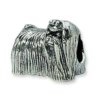 Sterling Silver Polished Antique finish Reflections Maltese Dog Bead Charm