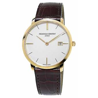 Frederique Constant Mens Slim Line Brown Leather Strap FC-220V5S5 Watch