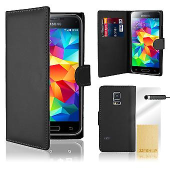 Book wallet PU leather case cover for Samsung Galaxy S5 mini SM-G800 + stylus - Black