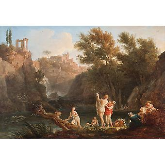 Claude Joseph Vernet - The four times of day- Evening Poster Print Giclee