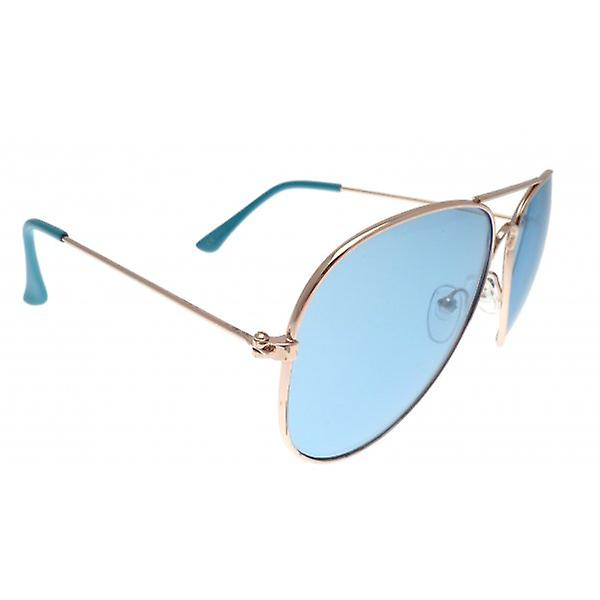 W.A.T Classic Unisex Aviator Sunglasses With Rose Gold Frames And Blue Lenses