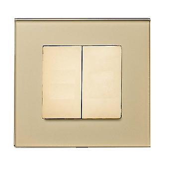 Ich LumoS Luxus Gold Ganzglas schraubenlose Blanking Platte einzelne Steckdose