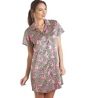 Camille Luxurious Knee Length Gold Floral Print Satin Nightshirt