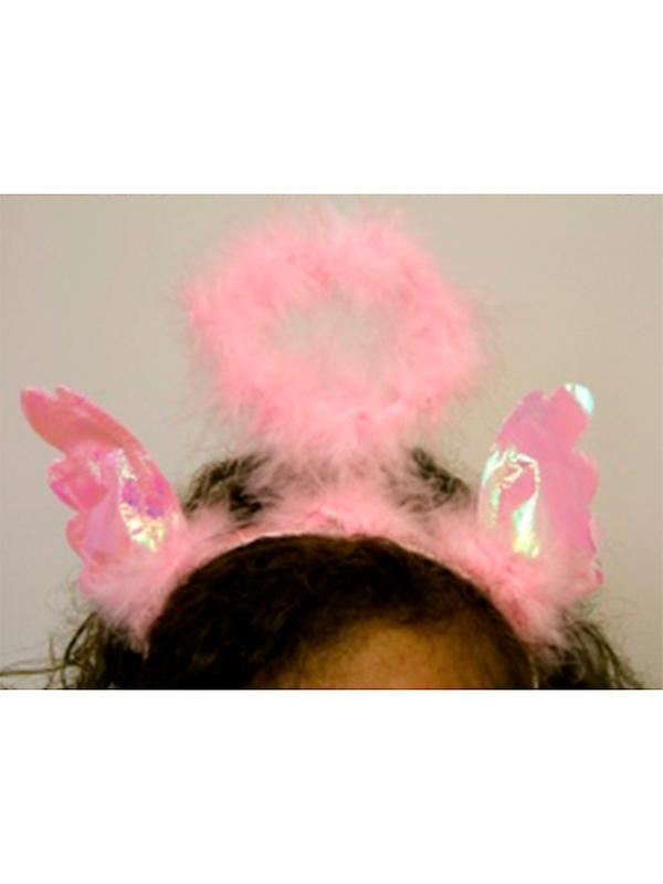 Headbopper Pink Furry With Iridescent Wings And Angel Halo