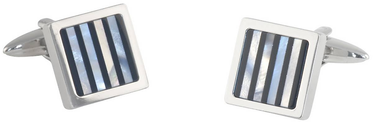 David Van Hagen Square Onyx and Mother of Pearl Striped Cufflinks - Silver/Black/Grey