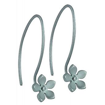 Ti2 Titanium 8mm Five Petal Flower Drop Earrings - Sky Blue