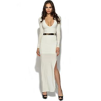 V Neck Belted Maxi Dress