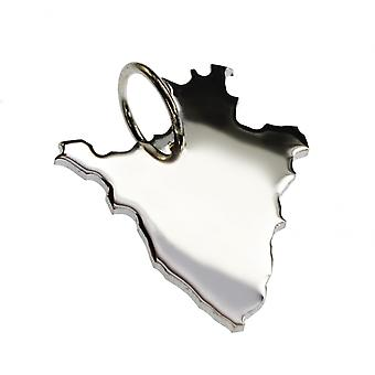 Trailer map BURUNDI necklace solid 925 Silver