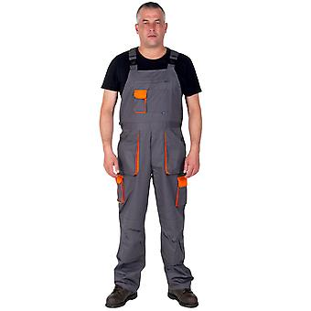 Portwest Texo Contrast Work Dungarees (Grey) Mens Work Bib Overalls Industrial