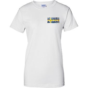 Sweden Grunge Country Name Flag Effect - Ladies Chest Design T-Shirt