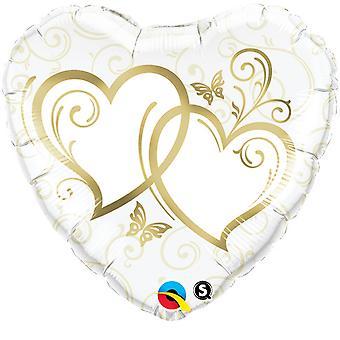 Qualatex 18 Inch Heart-Shaped Wedding Foil Balloon