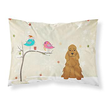 Christmas Presents between Friends Cocker Spaniel Red Fabric Standard Pillowcase