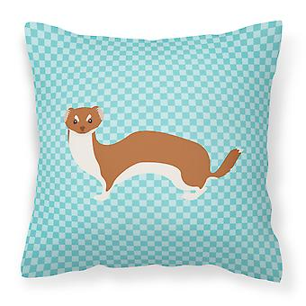 Carolines Treasures  BB8044PW1818 Weasel Blue Check Fabric Decorative Pillow