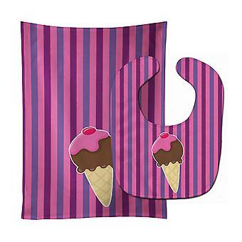 Carolines Treasures  BB9060STBU Ice Cream Cone Baby Bib & Burp Cloth