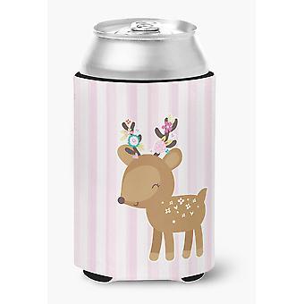 Carolines Treasures  BB6934CC Deer in Pink Stripes Can or Bottle Hugger