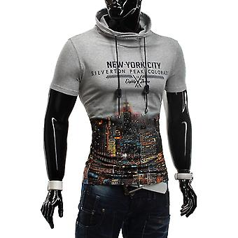 T-Shirt Hoodie short sleeve high neck Figurbetont stretch slim fit Silverton city